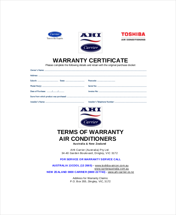 Warranty certificate templates free premium samples creative product warranty certificate template yadclub Image collections
