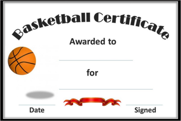 Professional Basketball Cartificate Template