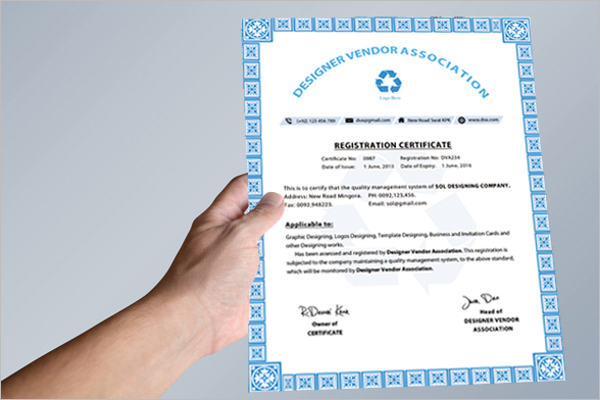 Registration Certificate Template