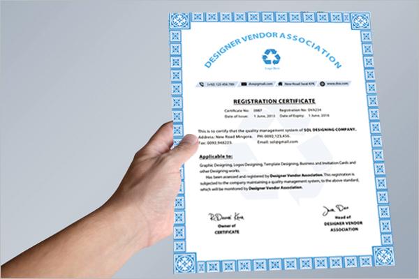 Registration Certificate Template