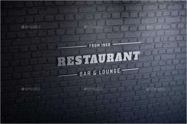 Restaurant Wall Logo Mockup