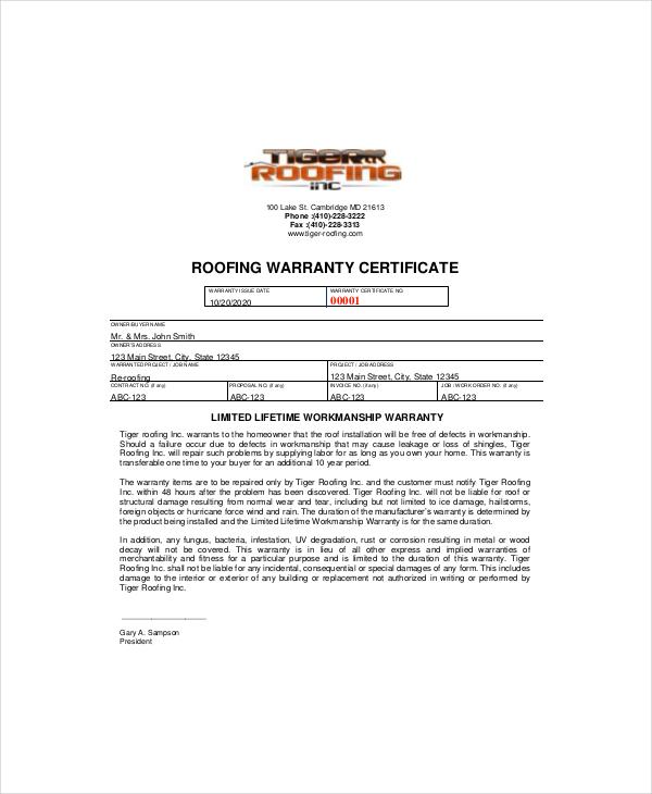 Roofing-Warranty-Certificate-Template