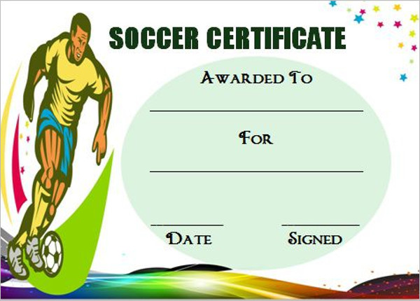 Sample Soccer Certificate Template