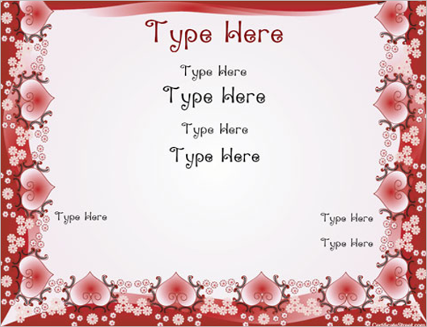 Sample Valentine's Day Certificate Template