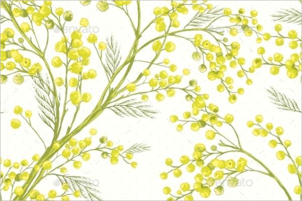 Seamless Mimosa Pattern