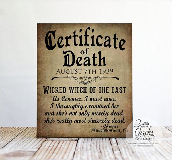 Simple Death Certificate Template