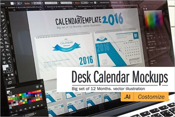 Simple Desk Calendar Mock Up Template