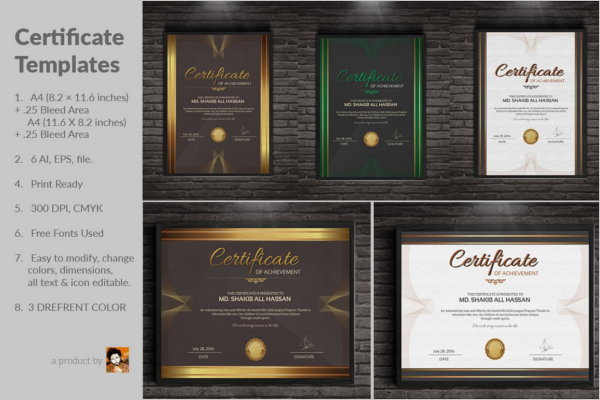 Simple Participation Certificate Templates
