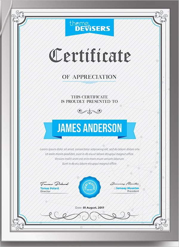 Sample Training Certificate Template