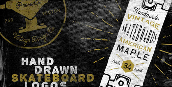 Skateboard PSD Sketch Template