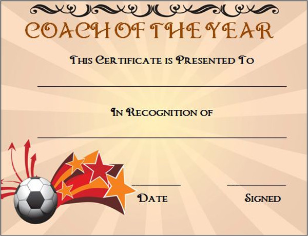 Soccer Coach Award Certificate Template