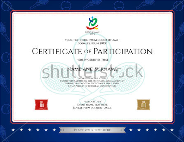 Sport Theme Certification Of Participation