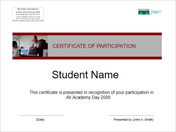 Sportsmanship Participation Certificate Template