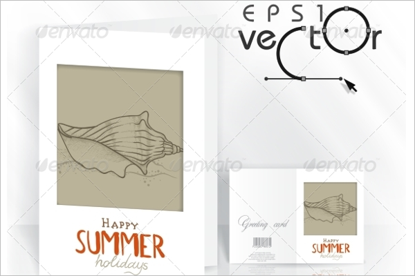 Summer Sketch Greeting Card Vector