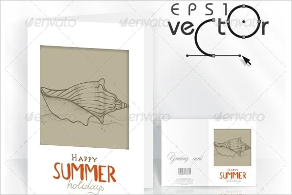 Summer Sketch Greeting Card Vector