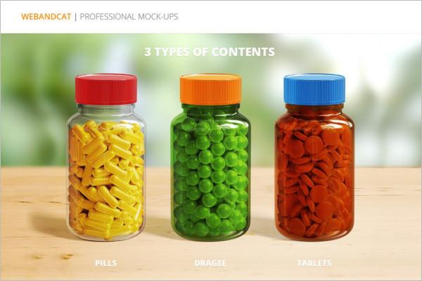 Tablet Bottles Mockup Design