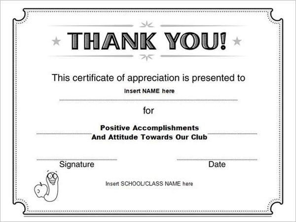 Thank You Certificate Template Certificate Templates Free – Free Blank Certificates