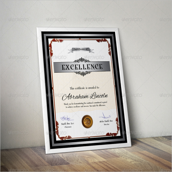 Training Certificate For Excellence