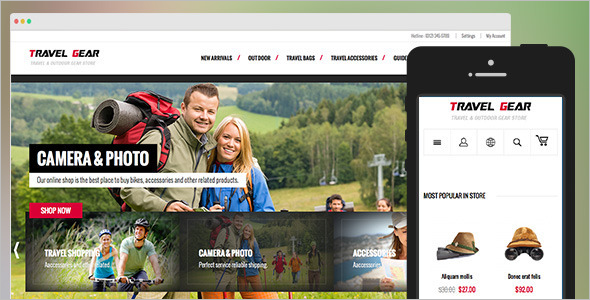 Travel Gear Magento theme