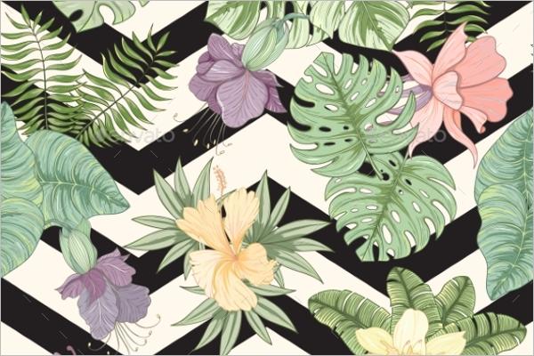Tropical Flower & Leaves Pattern