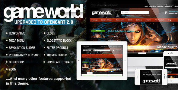 Video Games OpenCart Template Design