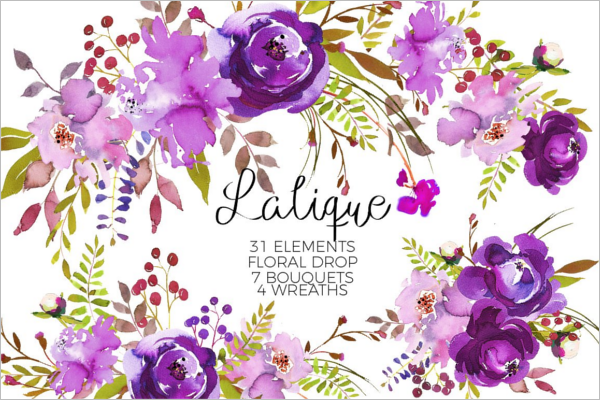 Violet Purple Floral Element Design