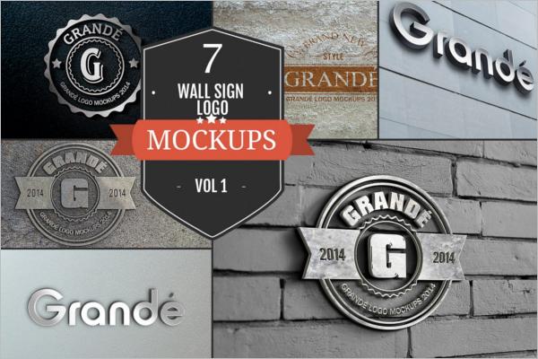 Wall Sign PSD Logo Mockups