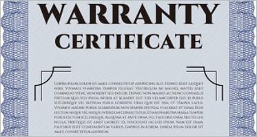 Warranty Certificate