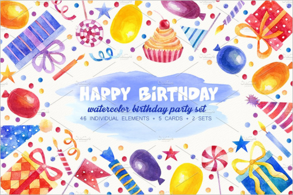 Watercolor Birthday party Poster