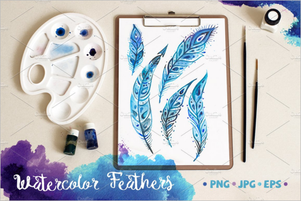 Watercolor Vintage Feather