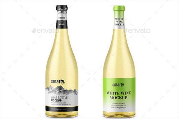 White Wine Bottles Mockup