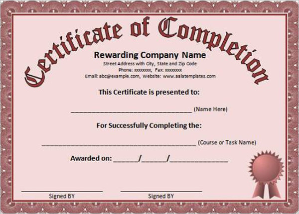 Word Completion Certificate Template