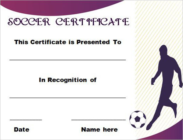 Word Soccer Certificate Template