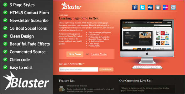 jQuery Landing Page Effect HTML Template