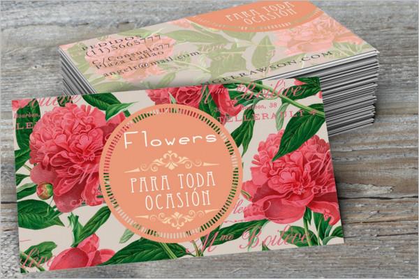 peonies flowers business card Design