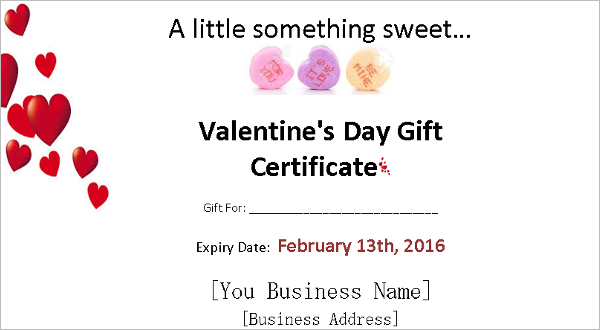 10 valentines day certificate templates free premium valentines day gift certificate template yadclub Choice Image