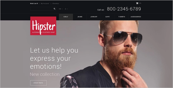 Men fashion Responsive Opencart Theme