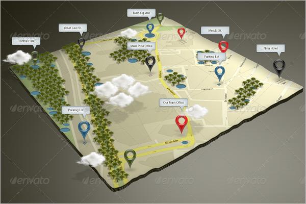 3D Google Map Mockup Design