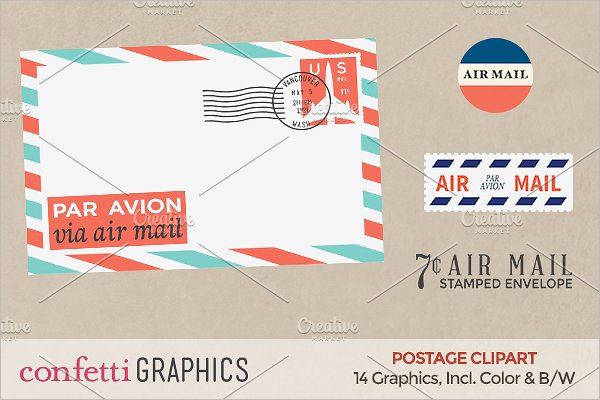 Air Mail Stamp Envelope Template