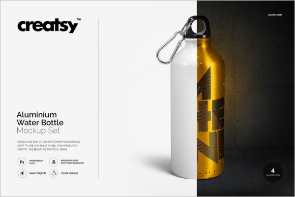 Aluminium Water Bottle Mockup