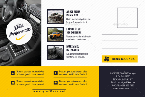 Automobile Introduction Postcard Template