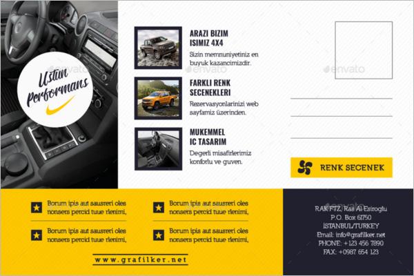 Automobile Introduction Postcard Template