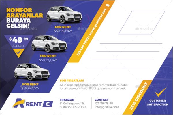 Automobile Postcard Vector Template
