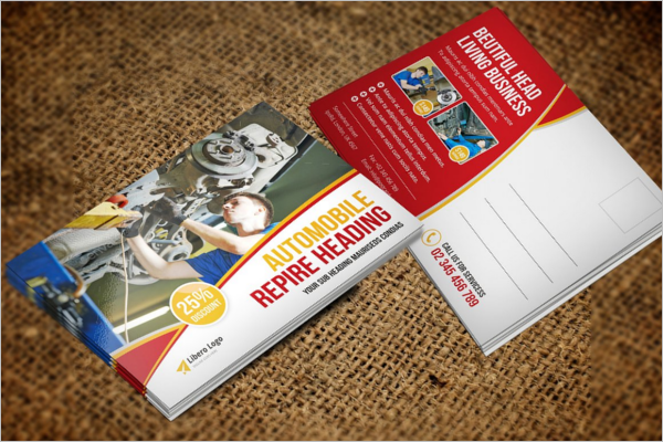 Automobile Repair postcard template