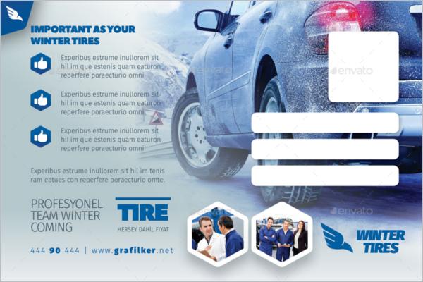 Automobile Tire Postcard Template