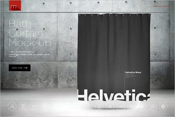Bath Curtain Mockup Template