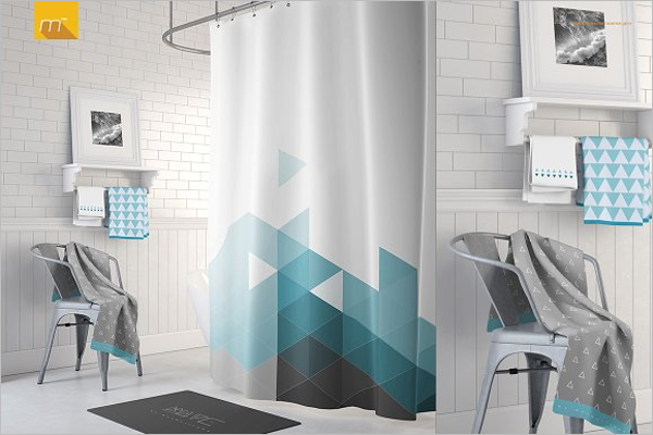 Bathroom Curtain Mockup Template