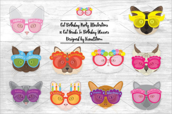 Birthday Cat Face Party Design