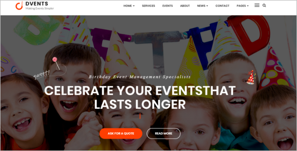 Birthday Event WordPress Theme