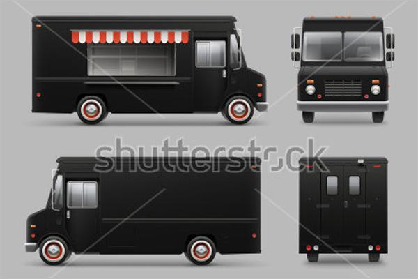 Black Food Truck Mockup Template